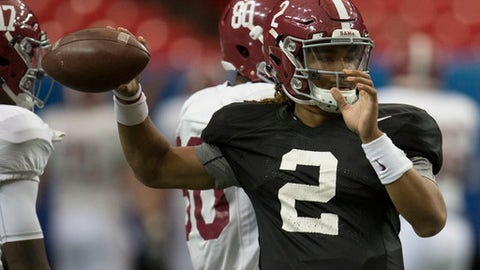 Alabama quarterback Jalen Hurts (2) works through drills during Alabama's Peach Bowl football practice, Tuesday, Dec. 27, 2016, at the Georgia Dome in Atlanta, Ga.  (Vasha Hunt//AL.com via AP)