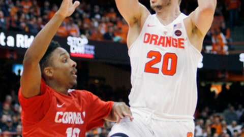 Syracuse's Tyler Lydon, right, shoots over Cornell's Matt Morgan, left, in the second half of an NCAA college basketball game in Syracuse, N.Y., Tuesday, Dec. 27, 2016. Syracuse won 80-56. (AP Photo/Nick Lisi)