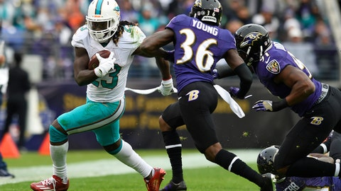 FILE - In this Dec. 4, 2016, file photo, Miami Dolphins running back Jay Ajayi, left, rushes past Baltimore Ravens cornerback Tavon Young (36) and linebacker Matt Judon during an NFL football game in Baltimore. Ajayi has had three 200-yard games this season, and is eager to show what he can do in the playoffs. (AP Photo/Gail Burton, File)
