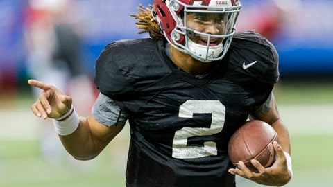 Alabama quarterback Jalen Hurts (2) works through drills during Alabama's Peach Bowl practice, Wednesday, Dec. 28, 2016, at the Georgia Dome in Atlanta, Ga. (Vasha Hunt/AL.com via AP)