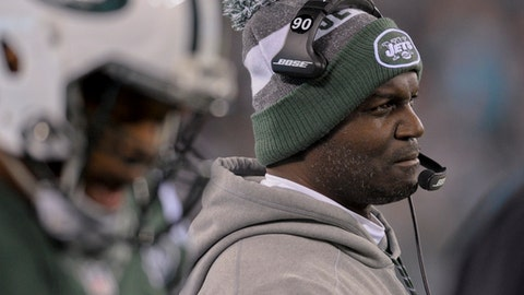 FILE - In this Saturday, Dec. 17, 2016, file photo, New York Jets head coach Todd Bowles watches from the sidelines during the fourth quarter of an NFL football game against the Miami Dolphins in East Rutherford, N.J. Bowles is in just second season as coach in New York after establishing himself as highly sought coaching candidate following several years as widely respected defensive assistant. (AP Photo/Bill Kostroun, File)