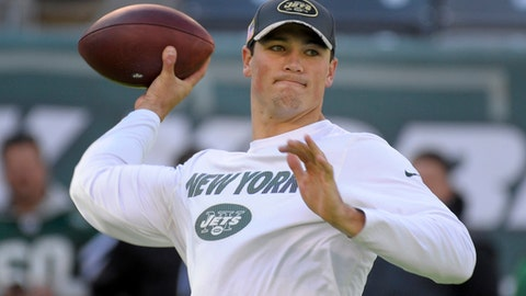 FILE - In this Nov. 13, 2016, file photo, New York Jets quarterback Christian Hackenberg throws a pass before the team's NFL football game against the Los Angeles Rams in East Rutherford, N.J. Hackenberg will swap his sweats for shoulder pads and a helmet on the Jets' sideline Sunday, Jan 1. That actually counts as progress for the rookie quarterback, who'll be active for a regular-season game for the first time in his NFL career. While some fans and media have spent the last several days clamoring for Todd Bowles to start Hackenberg over Ryan Fitzpatrick in the season finale against Buffalo, the second-round pick will remain patient and wait for his turn to play. (AP Photo/Bill Kostroun, File)