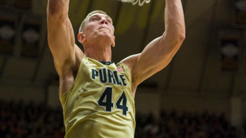 Purdue center Isaac Haas (44) slam dunks the ball in the second half of an NCAA college basketball game in West Lafayette, Ind., Wednesday, Dec. 28, 2016. Purdue won 89-67. (AP Photo/Doug McSchooler)