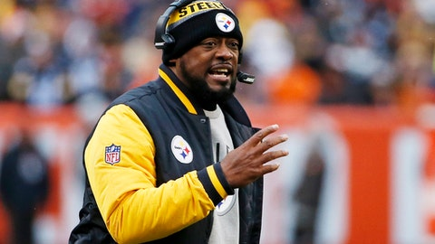 FILE - In a Sunday, Nov. 20, 2016 file photo, Pittsburgh Steelers head coach Mike Tomlin yells at an official during the first half of an NFL football game against the Cleveland Browns in Cleveland. The Steelers (10-5) have already locked down the AFC North title and will play Sunday against Cleveland (1-14) in the regular season finale. (AP Photo/Ron Schwane, File)