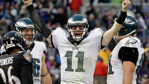 FILE - In a Sunday, Dec. 18, 2016 file photo, Philadelphia Eagles quarterback Carson Wentz (11) celebrates his touchdown during the second half of an NFL football game against the Baltimore Ravens in Baltimore. Wentz, the No. 2 overall pick, is second behind Dak Prescott in yards passing and TD passes by rookies. Wentz is two completions away from breaking Sam Bradford's rookie record. (AP Photo/Patrick Semansky, File)