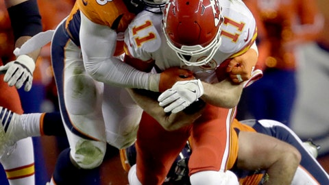 FILE - In a Sunday, Nov. 27, 2016 file photo, Kansas City Chiefs quarterback Alex Smith (11) is sacked by Denver Broncos outside linebacker Von Miller (58) during the first half of an NFL football game, in Denver. Spoiler is an unfamiliar role for Von Miller, who gets to see what it's like to play for nothing but pride Jan. 1 when the Denver Broncos host the Oakland Raiders. (AP Photo/Joe Mahoney, File)