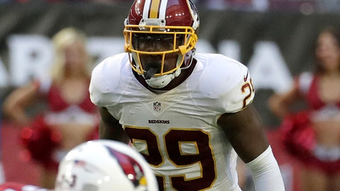 In this photo taken Dec. 4, 2016, Washington Redskins strong safety Duke Ihenacho (29) watches during an NFL football game against the Arizona Cardinals in Glendale, Ariz. Mixing and matching safeties since late last season, the Washington Redskins have no choice but to use a safety-by-committee approach in their must-win finale.  (AP Photo/Rick Scuteri)