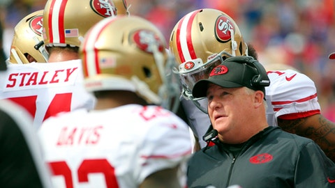 FILE - In a Sunday, Oct. 16, 2016 filel photo, San Francisco 49ers head coach Chip Kelly talks to his players during the first half of an NFL football game against the Buffalo Bills, in Orchard Park, N.Y. San Francisco snapped a franchise-record 13-game losing streak by winning 22-21 last week in Los Angeles and need another win on Jan. 1 to avoid tying the franchise record for losses in a season reached in 1978, '79 and 2004.(AP Photo/Bill Wippert, File)
