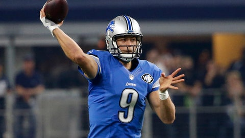 FILE - Monday, Dec. 26, 2016 file photo, Detroit Lions' Matthew Stafford (9) throws a pass in the first half of an NFL football game against the Dallas Cowboys in Arlington, Texas. Ford Field opened in 2002, and since then it has hosted a Super Bowl and a Final Four. The Lions, however, have never had an opportunity quite like this weekend, when they host the Green Bay Packers on Sunday night with a chance to win Detroit's first division title since 1993. (AP Photo/Michael Ainsworth, File)