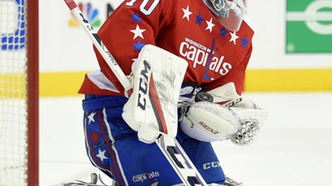 Washington Capitals goalie Braden Holtby (70) stops the puck during the second period of an NHL hockey game against the New Jersey Devils, Thursday, Dec. 29, 2016, in Washington. (AP Photo/Nick Wass)