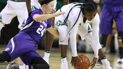 Baylor guard Alexis Jones, right, pulls in a loose ball over Kansas State guard Kindred Wesemann, left, during the first half of an NCAA college basketball game, Thursday, Dec. 29, 2016, in Waco, Texas. (AP Photo/Rod Aydelotte)
