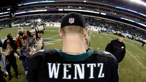 In this Dec. 22, 2016, file photo, taken with a fisheye lens, Philadelphia Eagles' Carson Wentz walks the field after an NFL football game against the New York Giants in Philadelphia. The most recent NFL jersey sales report overall top 10, going back to the April draft, is led by a rookie, Eagles QB Carson Wentz. (AP Photo/Michael Perez, File)