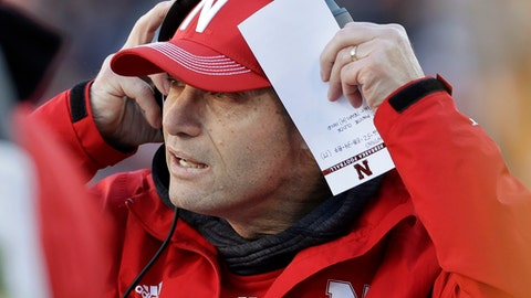 Nebraska head coach Mike Riley watches the action in the first half of the Music City Bowl NCAA college football game against Tennessee, Friday, Dec. 30, 2016, in Nashville, Tenn. (AP Photo/Mark Humphrey)