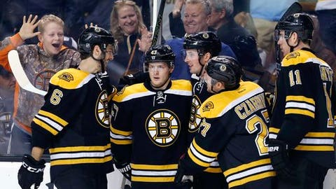 Boston Bruins' Tim Schaller, third from right, celebrates his goal with teammates Colin Miller (6), Torey Krug (47), Austin Czarnik (27) and Jimmy Haye (11) during the second period of an NHL hockey game against the Buffalo Sabres in Boston, Saturday, Dec. 31, 2016. (AP Photo/Michael Dwyer)