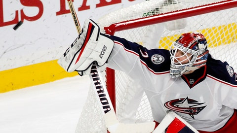 Columbus Blue Jackets goalie Sergei Bobrovsky (72) stops a shot by the Minnesota Wild during the first period of an NHL hockey game Saturday, Dec. 31, 2016, in St. Paul, Minn.(AP Photo/Andy Clayton-King)
