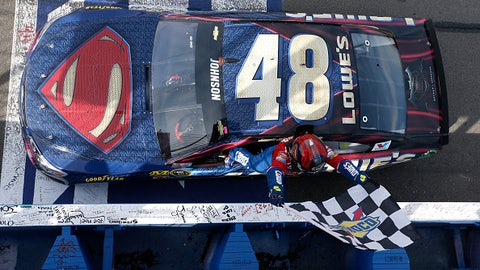 Jimmie Johnson, Superman car at Auto Club Speedway