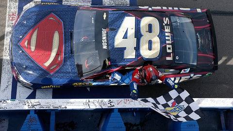 Jimmie Johnson, Superman car at Auto Club Speedway