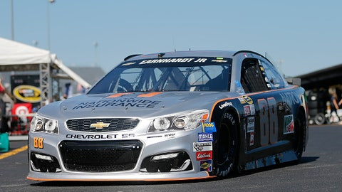 "Dale Earnhardt Jr. (driven by Jeff Gordon), ""Grey Ghost"" throwback paint scheme at Darlington"