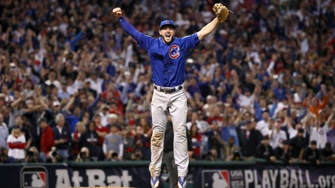 CLEVELAND, OH - NOVEMBER 02:  Kris Bryant #17 of the Chicago Cubs celebrates after winning 8-7 in Game Seven of the 2016 World Series at Progressive Field on November 2, 2016 in Cleveland, Ohio.   (Photo by Ezra Shaw/Getty Images)