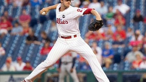 Sep 8, 2015; Philadelphia, PA, USA; Philadelphia Phillies starting pitcher Aaron Nola (27) pitches during the first inning against the Atlanta Braves at Citizens Bank Park. Mandatory Credit: Bill Streicher-USA TODAY Sports