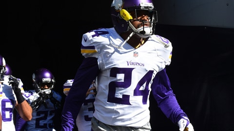 Nov 1, 2015; Chicago, IL, USA; Minnesota Vikings cornerback Captain Munnerlyn (24) walks onto the field prior to the game against the Chicago Bears at Soldier Field. Mandatory Credit: Mike DiNovo-USA TODAY Sports
