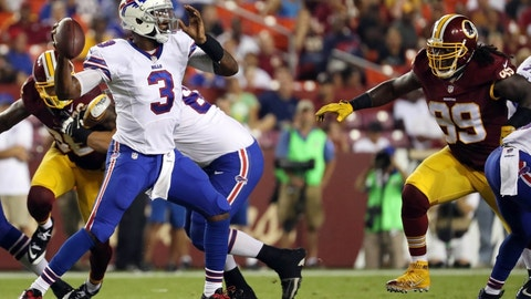 Aug 26, 2016; Landover, MD, USA; Buffalo Bills quarterback EJ Manuel (3) throws the ball as Washington Redskins defensive end Ricky Jean Francois (99) chases in the third quarter at FedEx Field. The Redskins won 21-16. Mandatory Credit: Geoff Burke-USA TODAY Sports
