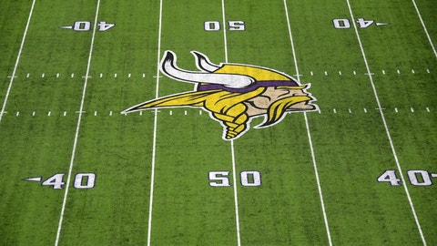 Sep 1, 2016; Minneapolis, MN, USA; General view of the Minnesota Vikings logo at midfield during a NFL game against the Los Angeles Rams at U.S. Bank Stadium. Mandatory Credit: Kirby Lee-USA TODAY Sports