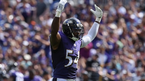 Sep 11, 2016; Baltimore, MD, USA;  Baltimore Ravens linebacker Zach Orr (54) reacts after Buffalo Bills kicker Dan Carpenter (not pictured) missed a field goal during the third quarter at M&T Bank Stadium. The Ravens won 13-7. Mandatory Credit: Tommy Gilligan-USA TODAY Sports