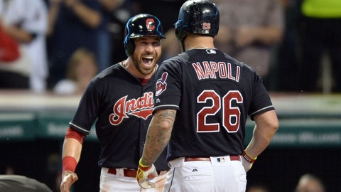 Sep 16, 2016; Cleveland, OH, USA; Cleveland Indians second baseman Jason Kipnis (22) celebrates with first baseman Mike Napoli (26) after Napoli hit a home run during the fifth inning against the Detroit Tigers at Progressive Field. Mandatory Credit: Ken Blaze-USA TODAY Sports