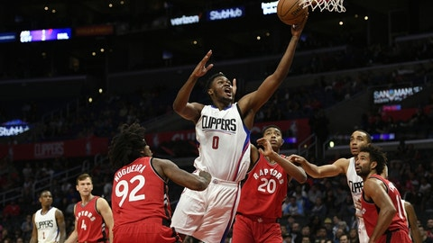 Oct 5, 2016; Los Angeles, CA, USA; Los Angeles Clippers center Diamond Stone (0) attempts a shot during the fourth quarter against the Toronto Raptors at Staples Center. The Los Angeles Clippers won 104-98. Mandatory Credit: Kelvin Kuo-USA TODAY Sports