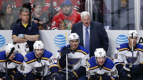Oct 12, 2016; Chicago, IL, USA; St. Louis Blues head coach Ken Hitchcock yells to his team against the Chicago Blackhawks during the third period at United Center. Mandatory Credit: Kamil Krzaczynski-USA TODAY Sports