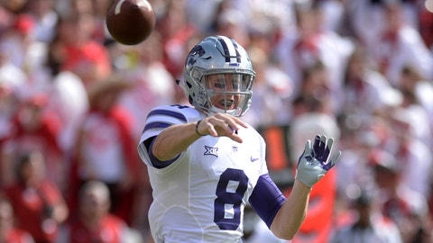 Oct 15, 2016; Norman, OK, USA; Kansas State Wildcats quarterback Joe Hubener (8) passes the ball against the Oklahoma Sooners during the second quarter at Gaylord Family - Oklahoma Memorial Stadium. Mandatory Credit: Mark D. Smith-USA TODAY Sports