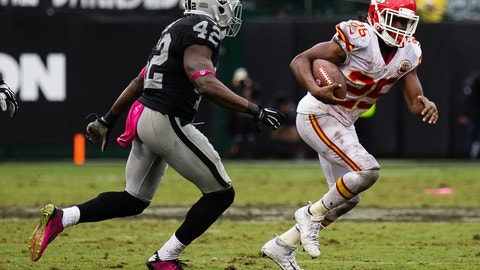 Oct 16, 2016; Oakland, CA, USA; Kansas City Chiefs running back Jamaal Charles (25) carries the ball against the Oakland Raiders during the second quarter at Oakland Coliseum. Mandatory Credit: Kelley L Cox-USA TODAY Sports