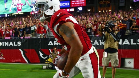 Oct 17, 2016; Glendale, AZ, USA; Arizona Cardinals wide receiver Michael Floyd (15) celebrates after catching a fourth quarter touchdown against the New York Jets at University of Phoenix Stadium. The Cardinals defeated the Jets 28-3. Mandatory Credit: Mark J. Rebilas-USA TODAY Sports