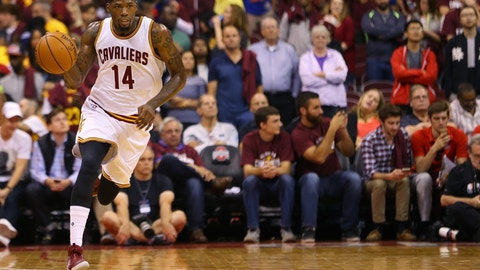 Oct 18, 2016; Columbus, OH, USA; Cleveland Cavaliers guard DeAndre Liggins (14) against the Washington Wizards at the Jerome Schottenstein Center. The Wizards won 96-91. Mandatory Credit: Aaron Doster-USA TODAY Sports