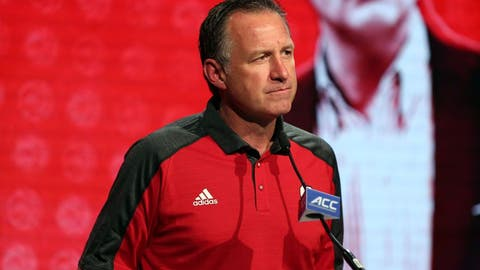 Oct 26, 2016; Charlotte, NC, USA; North Carolina State Wolfpack coach Mark Gottfried speaks to the media during ACC Operation Basketball at The Ritz-Carlton. Mandatory Credit: Jim Dedmon-USA TODAY Sports