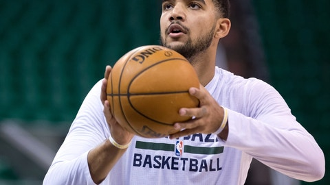 Nov 4, 2016; Salt Lake City, UT, USA; Utah Jazz forward Trey Lyles (41) warms up prior to the game against the San Antonio Spurs at Vivint Smart Home Arena. Mandatory Credit: Russ Isabella-USA TODAY Sports
