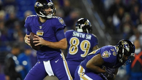 Nov 10, 2016; Baltimore, MD, USA;  Baltimore Ravens quarterback Joe Flacco (5) drops back to pass during the first quarter against the Cleveland Browns at M&T Bank Stadium. Mandatory Credit: Tommy Gilligan-USA TODAY Sports