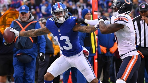 Nov 20, 2016; East Rutherford, NJ, USA;  New York Giants wide receiver Odell Beckham (13) runs out of bounds after a reception in the third quarter against the Chicago Bears at MetLife Stadium. Mandatory Credit: Robert Deutsch-USA TODAY Sports