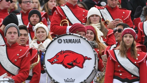 Nov 25, 2016; Columbia, MO, USA; Members of the Arkansas Razorbacks marching band watch play during the first half against the Missouri Tigers at Faurot Field. Missouri won 28-24. Mandatory Credit: Denny Medley-USA TODAY Sports