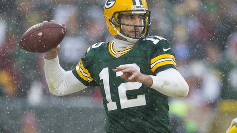Dec 4, 2016; Green Bay, WI, USA;  Green Bay Packers quarterback Aaron Rodgers (12) throws a pass during the third quarter against the Houston Texans at Lambeau Field.  Green Bay won 21-13.  Mandatory Credit: Jeff Hanisch-USA TODAY Sports