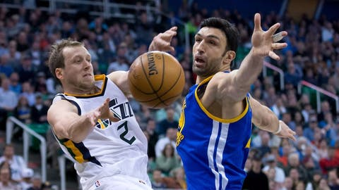 Dec 8, 2016; Salt Lake City, UT, USA; Golden State Warriors center Zaza Pachulia (27) defends against a pass by Utah Jazz forward Joe Ingles (2) during the second half at Vivint Smart Home Arena. Golden State won 106-99. Mandatory Credit: Russ Isabella-USA TODAY Sports