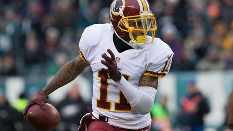 Dec 11, 2016; Philadelphia, PA, USA; Washington Redskins wide receiver DeSean Jackson (11) makes an 80 yard touchdown reception against the Philadelphia Eagles during the third quarter at Lincoln Financial Field. Mandatory Credit: Bill Streicher-USA TODAY Sports