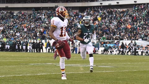 Dec 11, 2016; Philadelphia, PA, USA; Washington Redskins wide receiver DeSean Jackson (11) carries the ball for a touchdown as Philadelphia Eagles safety Rodney McLeod (23) defends in the third quarter at Lincoln Financial Field. Washington defeated Philadelphia 27-22.  Mandatory Credit: James Lang-USA TODAY Sports