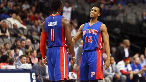 Dec 14, 2016; Dallas, TX, USA; Detroit Pistons guard Reggie Jackson (1) laughs with guard Ish Smith (14) during the second half against the Dallas Mavericks at American Airlines Center. Mandatory Credit: Kevin Jairaj-USA TODAY Sports