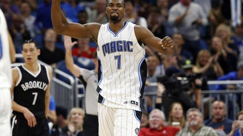 Dec 16, 2016; Orlando, FL, USA; Orlando Magic forward Serge Ibaka (7) celebrates after they made a shot against the Brooklyn Nets during the second half at Amway Center. Orlando Magic defeated the Brooklyn Nets 118-111. Mandatory Credit: Kim Klement-USA TODAY Sports