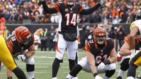 Dec 18, 2016; Cincinnati, OH, USA;  Cincinnati Bengals quarterback Andy Dalton (14) calls a play against the Pittsburgh Steelers during the first quarter at Paul Brown Stadium. Mandatory Credit: David Kohl-USA TODAY Sports