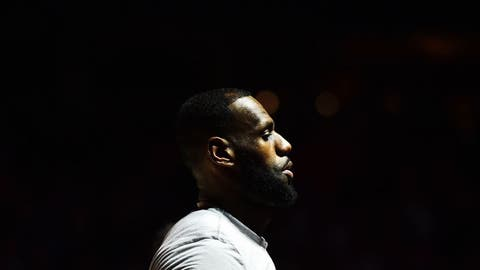 Dec 21, 2016; Cleveland, OH, USA; Cleveland Cavaliers forward LeBron James (23) is introduced before the game between the Cleveland Cavaliers and the Milwaukee Bucks at Quicken Loans Arena. Mandatory Credit: Ken Blaze-USA TODAY Sports