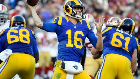 Dec 24, 2016; Los Angeles, CA, USA; Los Angeles Rams quarterback Jared Goff (16) throws a pass during the first quarter against the San Francisco 49ers at Los Angeles Memorial Coliseum. Mandatory Credit: Robert Hanashiro-USA TODAY Sports