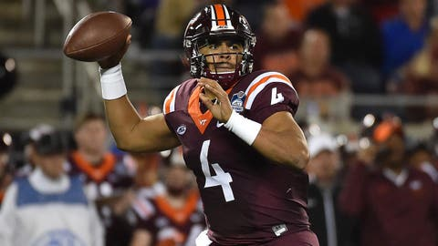 Dec 3, 2016; Orlando, FL, USA; Virginia Tech Hokies quarterback Jerod Evans (4) attempts  a pass against the Clemson Tigers during the first half of the ACC Championship college football game at Camping World Stadium. Mandatory Credit: Jasen Vinlove-USA TODAY Sports